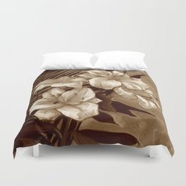White Lilies and Palm Leaf in brownscale Duvet Cover
