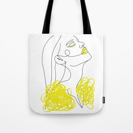 Abstract Line Illustration, Minimal Face Drawing In Lines, Printable Yellow Fashion Sketch. Tote Bag