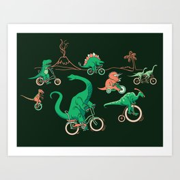 Dinosaurs on Bikes! Art Print