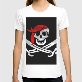 Jolly Roger pirate waving flag with skull and swords with red bandana on a silk drape  T-shirt