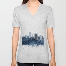 Pittsburgh City Skyline Watercolor Blue by Zouzounio Art Unisex V-Neck