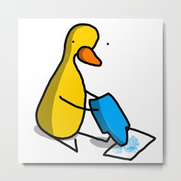 Blue Crayon Duck Dude | Veronica Nagorny Metal Print
