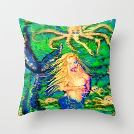 Art sexy nude mermaid octopus garden ladykashmir Throw Pillow