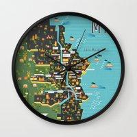 milwaukee Wall Clocks featuring Mapping  Milwaukee by Manuja Waldia