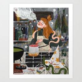 Witch smokes Art Print