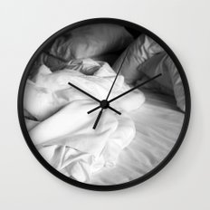 Empty bed in black and white Wall Clock