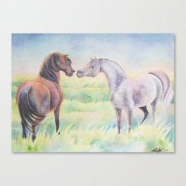 Horse Greeting In Wildflower Meadow Canvas Print