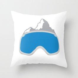 Winter Holiday Ski Goggle Snow Mountains Snowboard Throw Pillow