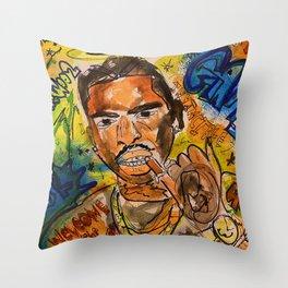 rip pop smoke,rapper,rap,music,lyrics,poster,dope,room,fan art,artwork,shirt,painting,memorabila Throw Pillow