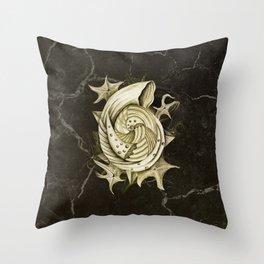 Dystopian Conch - Gold Throw Pillow