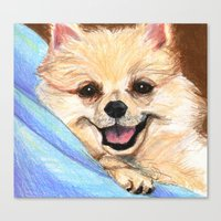 preppy Canvas Prints featuring Preppy Pomeranian by Britanee LeeAnn Sickles