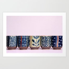 Japanese teacups Art Print