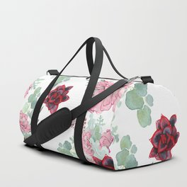 Succulents Pastel Red Pink Mint Green Pattern Duffle Bag