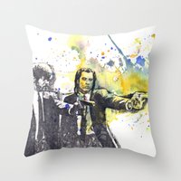 pulp Throw Pillows featuring Pulp Fiction by idillard