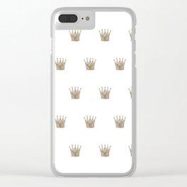 Vintage Crown Pattern Clear iPhone Case