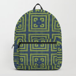 PANOPLY navy blue and grass green symmetrical squares pattern Backpack