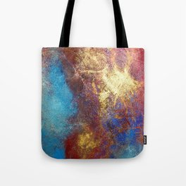 Philip Bowman Red, Blue And Gold Modern Abstract Art Painting Tote Bag