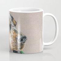 the hound Mugs featuring Hound Dog by Sarahphim Art
