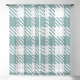 Plaid Pattern Teal Green Sheer Curtain