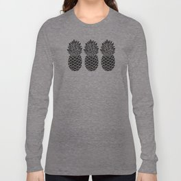 Pineapple Trio | Three Pineapples | Pineapple Silhouettes | Black and White | Long Sleeve T-shirt