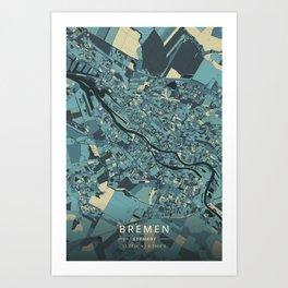 Bremen, Germany - Cream Blue Art Print