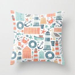 Nautical Watercolour Pattern! Throw Pillow