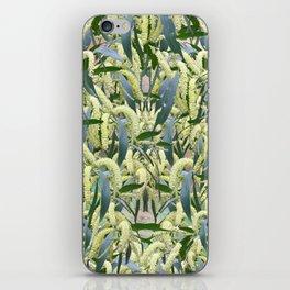 massed wattle blooms on textured background iPhone Skin