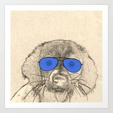 dog with glasses Art Print