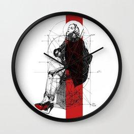 Red Lines. T. Golden Ratio. Baphomet. Yury Fadeev Wall Clock