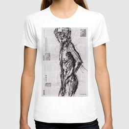 Saint - Charcoal on Newspaper Figure Drawing T-shirt