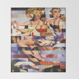 Glitch Pin-Up Redux: Taylor & Tiffany Throw Blanket