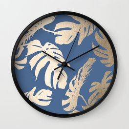 Simply Tropical Palm Leaves White Gold Sands on Aegean Blue Wall Clock
