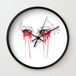 blood red eyes Wall Clock