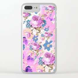 ROSES GIRLY PINK PURPLE AND BLUE FLOWER PATTERN Clear iPhone Case