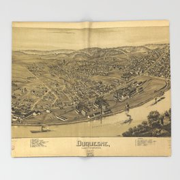 Aerial View of Duquesne, Allegheny County, Pennsylvania (1897) Throw Blanket