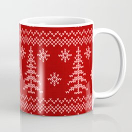 Stitched Evergreens in Red and Pink Coffee Mug