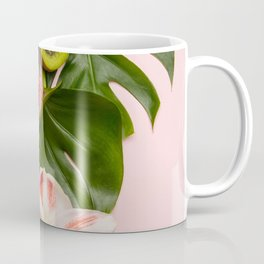 Creative flat lay with tropical fruits and plants on pink background Coffee Mug