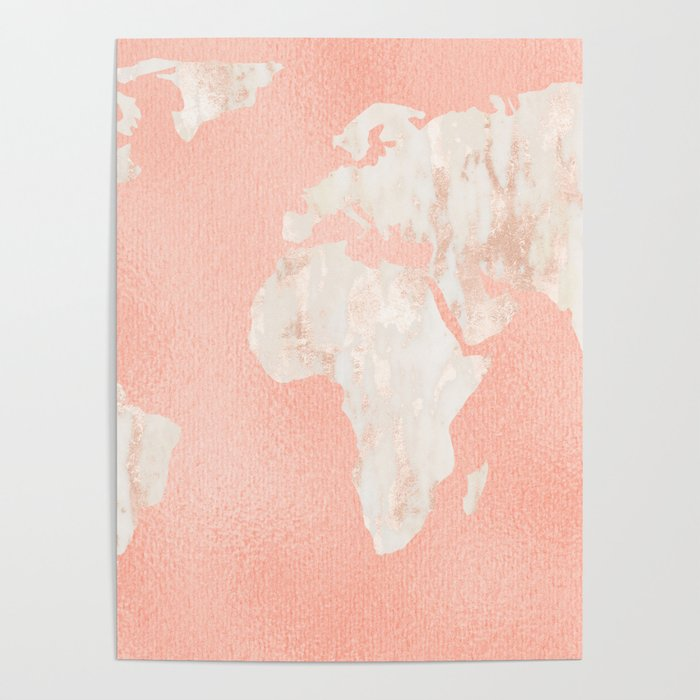 Pink rose gold world map poster by mapmaker society6 pink rose gold world map poster gumiabroncs Gallery