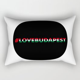 Hashtag Love Budapest, circle, black Rectangular Pillow
