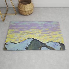 Koloman Moser Mountain Peak with Colored Clouds Rug