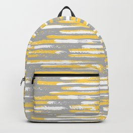 Colorful Stripes, Abstract Art, Yellow and Gray Backpack