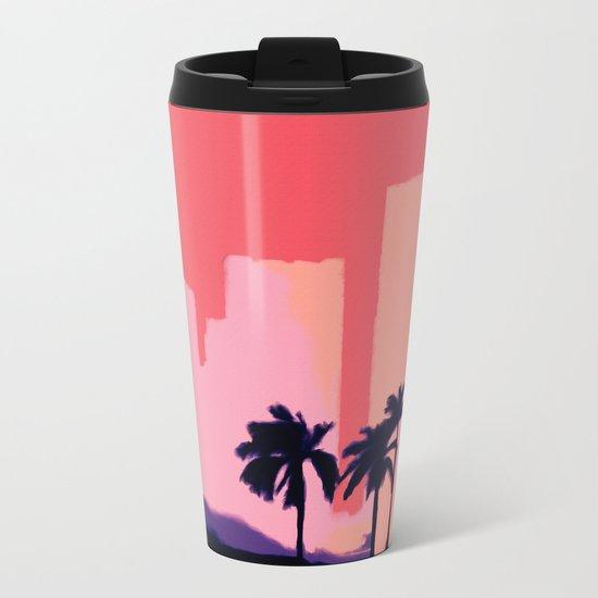 Sunset Time in Miami Metal Travel Mug