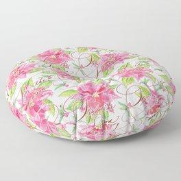 'Tis the Season for Poinsettias and Mistletoes in White Background Floor Pillow