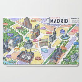 MADRID CITY by Javier Arrés. Madrid Map Illustration. Cutting Board