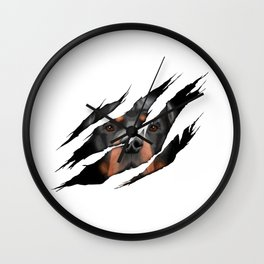 Rottweiler 3D torn effect illustration Wall Clock
