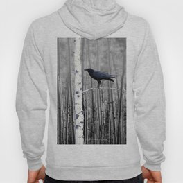 Black Bird Crow Tree Birch Forrest Black White Country Art A135 Hoody