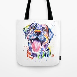 Black Lab Colorful Watercolor Pet Portrait Painting Tote Bag