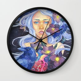 Angel or devil - Raven, heart, Christmas rose Wall Clock