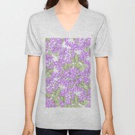 Botanical violet lavender green floral pattern Unisex V-Neck