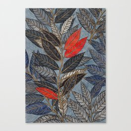 Feuilles Rouges Canvas Print